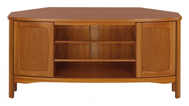Nathan 5874 Shades Teak Shaped Corner TV Unit