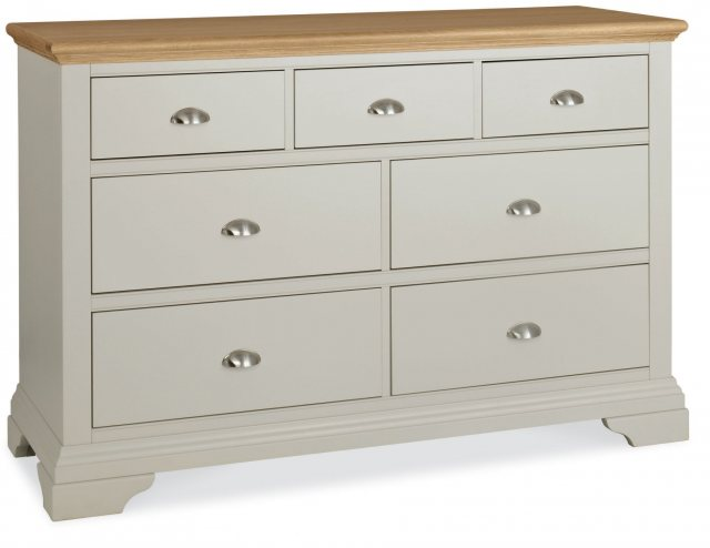 Bentley Designs Hampstead Soft Grey & Pale Oak 3+4 Drawer Wide Chest