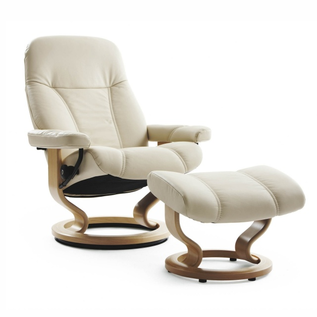 Stressless Stressless Consul Chair & Stool Classic Base - 3 Colours & 3 Sizes - Quick Ship!