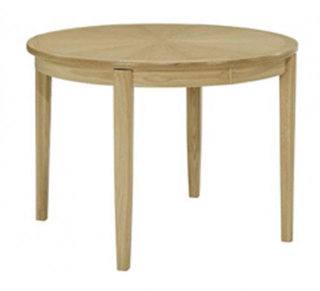 Nathan 2905 Shades Oak Circular Dining Table on Legs with Sunburst top