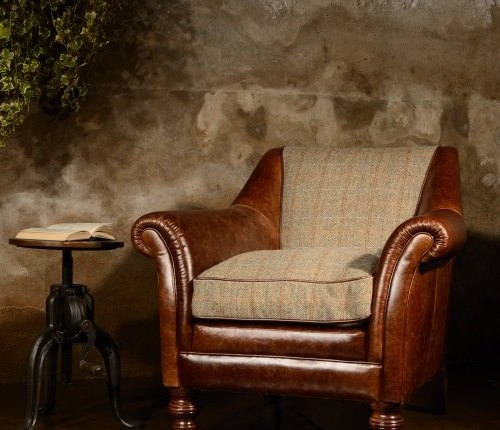 Tetrad Harris Tweed Dalmore Accent Chair - Option B (Hide & Tweed)