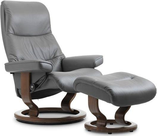 Stresslesss View Medium Classic Base Recliner & Stool