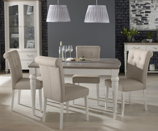 Bentley Designs Montreux Grey Washed Oak & Soft Grey 4-6 Extension Table & 6 Upholstered Chairs