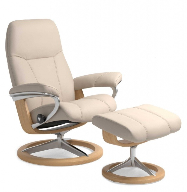 Stressless Stressless Consul Chair & Stool Signature Base - 3 Colours & 3 Sizes - Quick Ship!