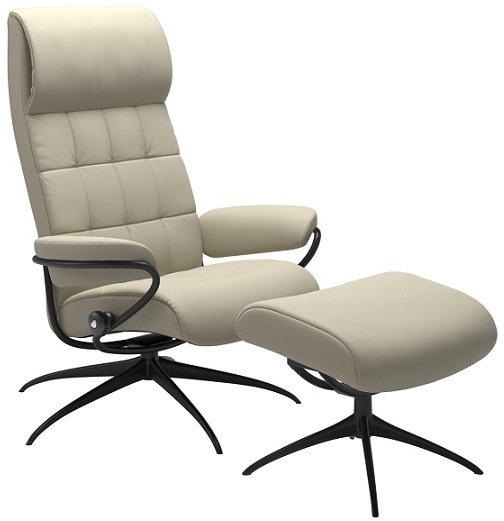 Stresslesss London High Back - High Base - Recliner with Stool