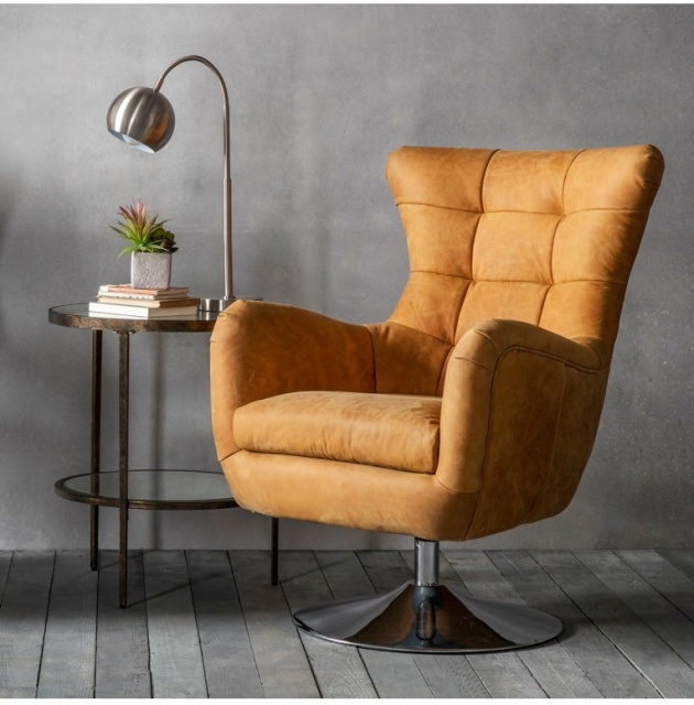 Gallery Direct & Frank Hudson Gallery Bristol Swivel Chair Saddle Tan
