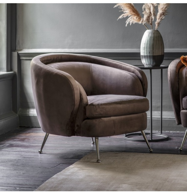 Gallery Direct & Frank Hudson Gallery Tesoro Tub Chair Dark Taupe Velvet