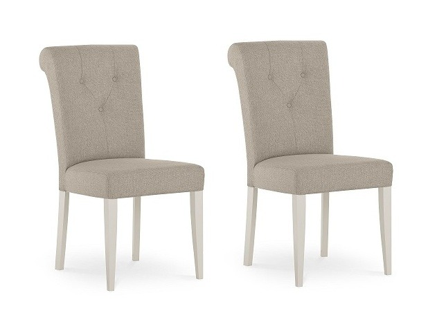 Bentley Designs Montreux Grey Washed Oak & Soft Grey Upholstered Chair - Bonded Leather (Pair)